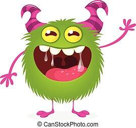 szczęśliwy, potwór, futrzany, rysunek, wektor, monster., zielony, halloween