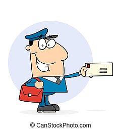 szczęśliwy, pracownik, pocztowy
