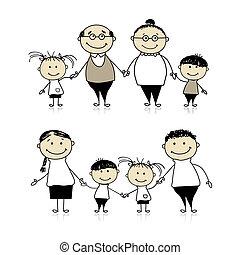 szczęśliwy, -, rodzice, razem, dziadkowie, rodzina, dzieci