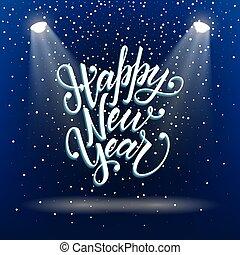 szczęśliwy, rok, nowy, powitanie, unikalny, projects., kartka pocztowa, twój, tytuł, 3d