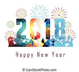 szczęśliwy, rok, nowy, tło, 2018, fajerwerk