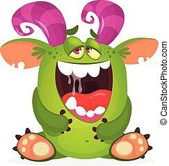 szczęśliwy, rysunek, ilustracja, wektor, monster., zabawny