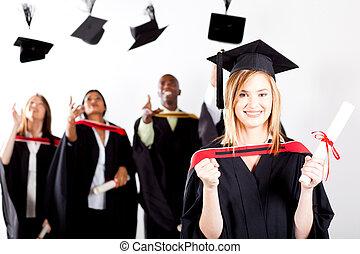 szczęśliwy, samica, skala, absolwent