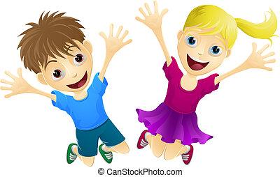 szczęśliwy, skokowy, dzieci, powietrze