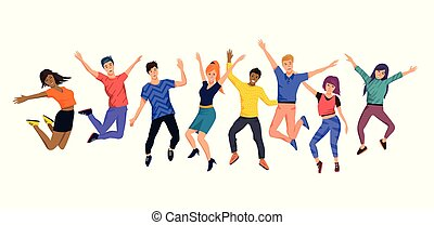 szczęśliwy, skokowy, młody, zbiór, ludzie