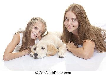 szczęśliwy, szczeniak, pies, dzieci