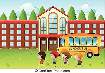 szczęśliwy, szkoła, chodzenie, dzieciaki