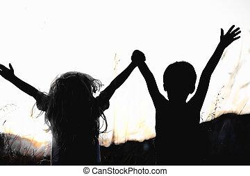 szczęśliwy, zachód słońca, dzieci, natura
