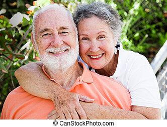 szczęśliwy, zdrowy, para, senior