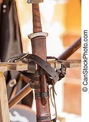 szczegół, miecz, średniowieczny
