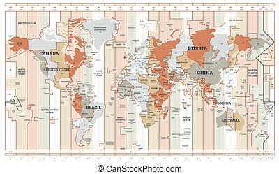 szczegółowy, czas, map., mapa, kraje, świat, names., pas