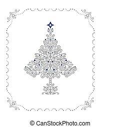 szczegółowy, drzewo, ułożyć, ozdoba, srebro, boże narodzenie