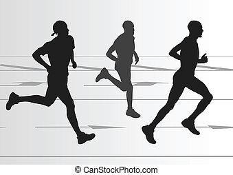 szczegółowy, kobieta, ilustracja, maraton, czynny, biegacze, człowiek