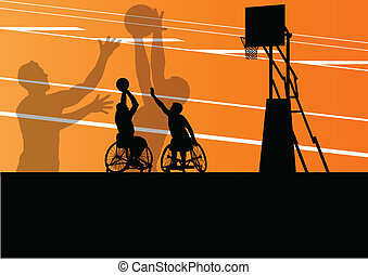 szczegółowy, koszykówka, sylwetka, wheelchair, mężczyźni, ilustracja, niepełnosprawny, gracze, pojęcie, wektor, tło, czynny, sport
