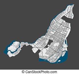 szczegółowy, królewskość, cityscape., illustration., montreal, miasto, wektor, wolny, airview, mapa