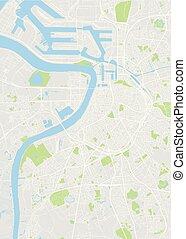 szczegółowy, miasto, antwerpia, mapa, kolor, ilustracja, wektor, plan