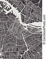 szczegółowy, miasto mapa, ilustracja, wektor, amsterdam, monochromia, plan