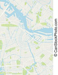 szczegółowy, miasto mapa, kolor, ilustracja, wektor, amsterdam, plan