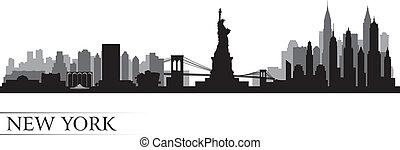szczegółowy, miasto, sylwetka, sylwetka na tle nieba, york, nowy