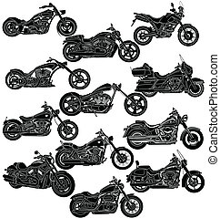 szczegółowy, motocykl, package-