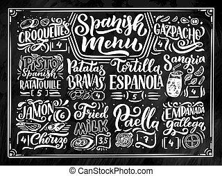 szczegółowy, rys, elementy, jadło, menu, styl, ilustracja, odizolowany, różny, pisemny, różny, chalkboard, tło, hiszpański, freehand, nazwiska, ręka, lettering., rysunek, design.