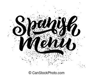 szczegółowy, rys, jadło, styl, menu, odręczny, ilustracja, hiszpański, freehand, lettering., rysunek, design.