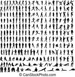szczegółowy, tancerze, yoga, bardzo, dużo, handlowy, sylwetka, wliczając w to, itd.