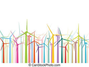 szczegółowy, wiatraki, ekologia, barwny, elektryczność, ilustracja, sylwetka, wektor, generatory, zbiór, tło, wiatr
