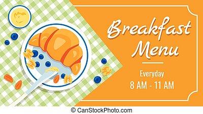 szczególny, chorągiew, czas, śniadanie, zdrowy, płyta, offers., menu, reklama, keto-dieting., miód, wektor, klatkowy, zachwycający, borówki, biały, tablecloth., rogalik, migdał, szablon, orzech włoski