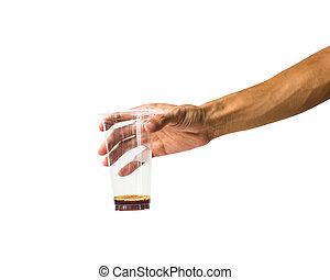 szczelnie-do góry, dzierżawa, płyn, szkło, obiekt, odizolowany, przeciw, plastyk, tło., obrzynek ścieżka, biały, ręka