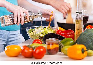 szczelnie-do góry, jadło, para, gotowanie, razem, razem., przygotowując