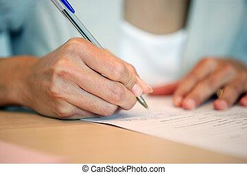 szczelnie-do góry, kobieta pisanie
