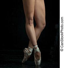 szczelnie-do góry, pointe, feet, balerina, młody, obuwie