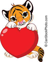 szczeniak, dzierżawa, serce, sprytny, tiger
