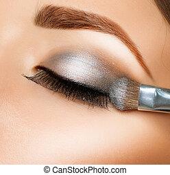szczotka, cień, eyeshadows., oko, make-up.