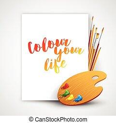 szczotka, ilustracja, sztuka, paleta, narzędzia, wektor, drawing., malować, ołówek