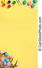 szczotki, płaski, chorągiew, tło., malatura, powitanie, tulipany, wielkanoc, lay., przestrzeń, karta, kosz, kopia, jaja, żółty