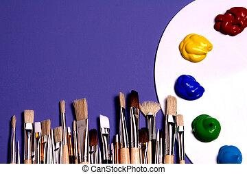 szczotki, paleta, sztuka, artysta, malatura, symboliczny, malować