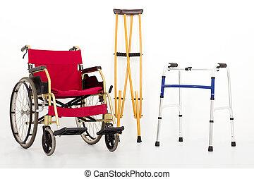 szczudła, aids., wheelchair, ruchliwość, odizolowany, biały