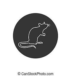szczur, znak, kreska, silhouette., icon., reputacja, wektor