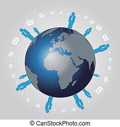 szeroki, wektor, sieć, dowcip, ludzki, świat