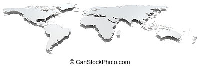 szeroki, wizerunek, map., świat