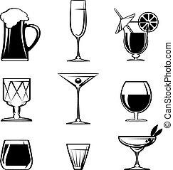 szkło, biały, napój, sylwetka, ikony