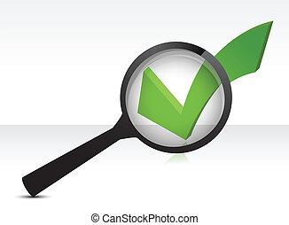 szkło, checkmark, zielony, powiększający