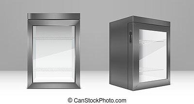 szkło, opróżniać, chłodnia, jasny, szary, drzwi, mini