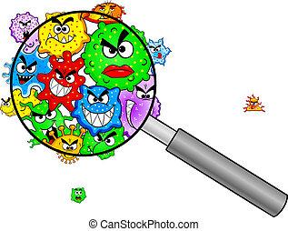 szkło, pod, powiększający, bacteria