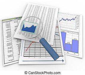 szkło powiększające, dokumenty, finansowy