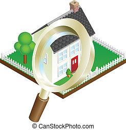 szkło, rewizja, pojęcie, powiększający, dom