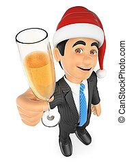 szkło, toasting, szampan, 3d, biznesmen