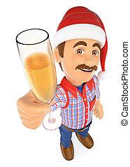 szkło, toasting, szampan, pracownik, 3d